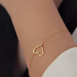 Gold Heart Bracelet, Delicate & Dainty